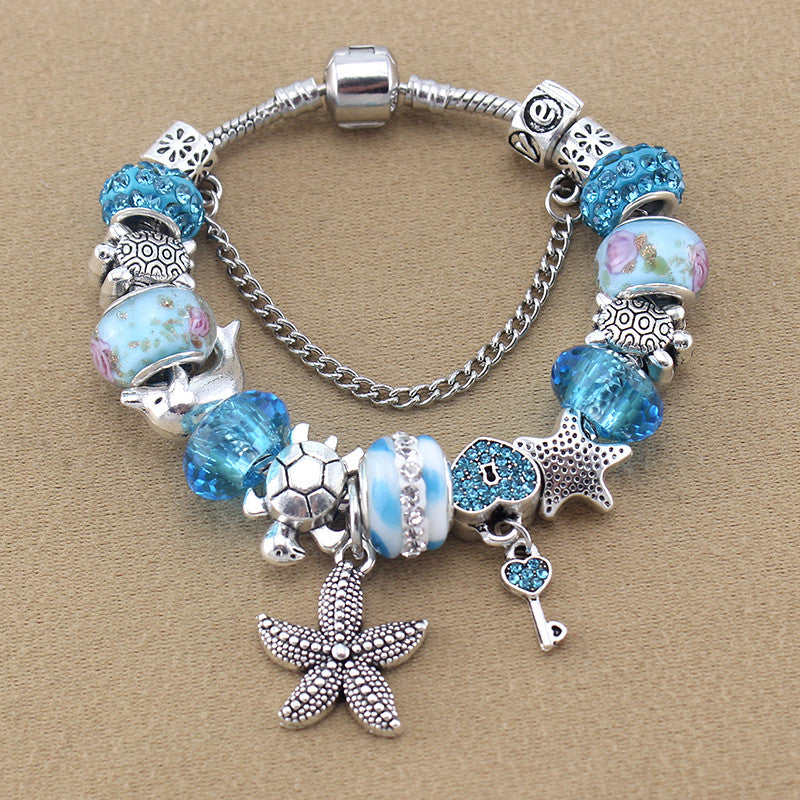 Blue/Silver Sea Charm Bracelet - 210 Kreations