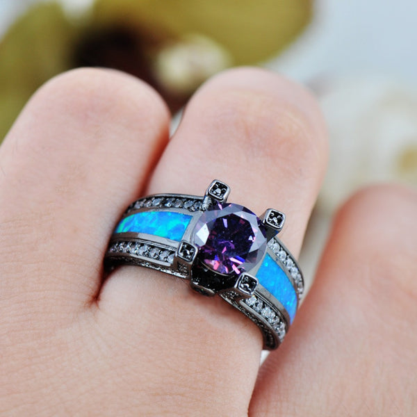 Romantic Blue Opal Amethyst Black Ring - 210 Kreations  - 5