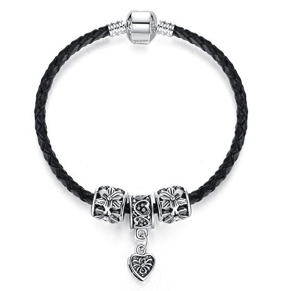 Silver and Leather Pandora Style Bracelet w/Charms - 210 Kreations  - 2