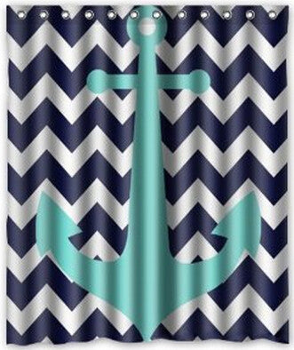 Blue/Turquoise Anchor Fabric Bathroom Shower Curtain - 210 Kreations