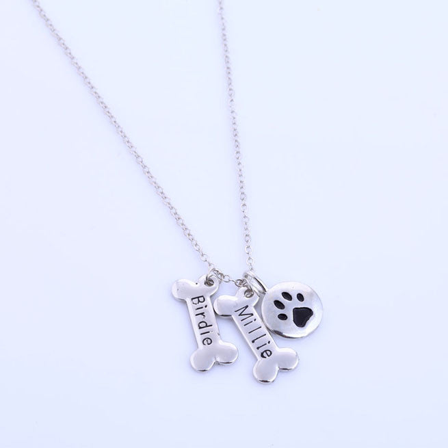 Personalized Dog Bone and Paw Necklace - 210 Kreations