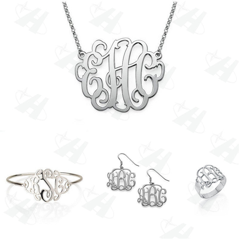 Silver Monogram Jewelry 4 Piece Set - 210 Kreations  - 1