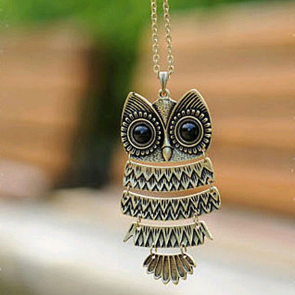Vintage Bronze or Silver Owl Pendant and Necklace