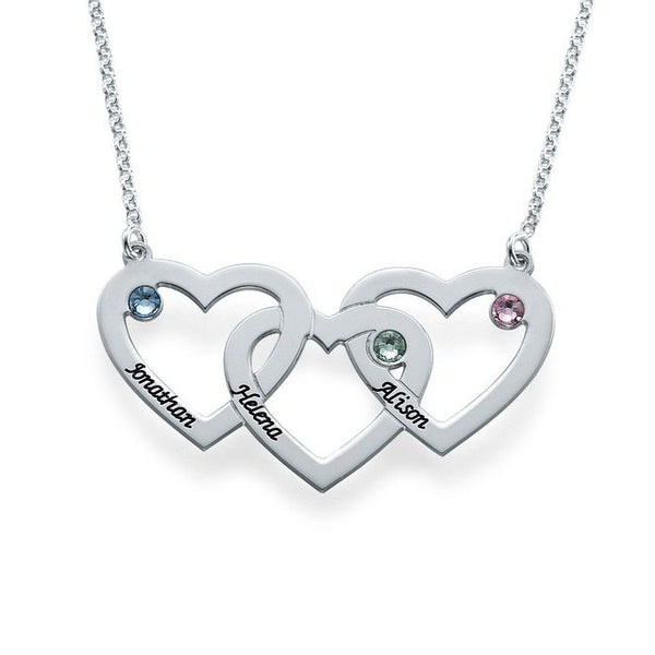 Silver Plated Three Heart/Names Necklace Custom Made w/Birthstones - 210 Kreations  - 1