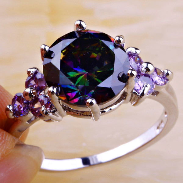 Rainbow Topaz & Amethyst Silver Ring Size - 210 Kreations  - 3