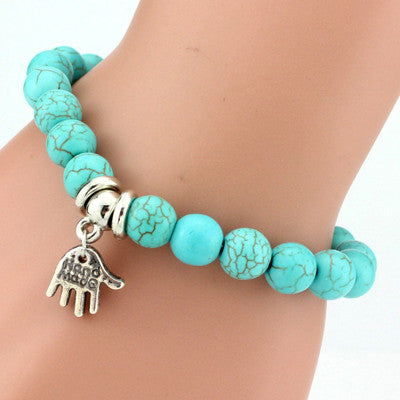 Turquoise Beads Bracelet - Assorted Charms - 210 Kreations  - 9