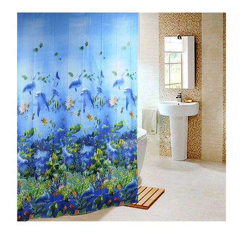 Marine Sea Life Bathroom Shower Curtain w/12 Hooks - 210 Kreations  - 1