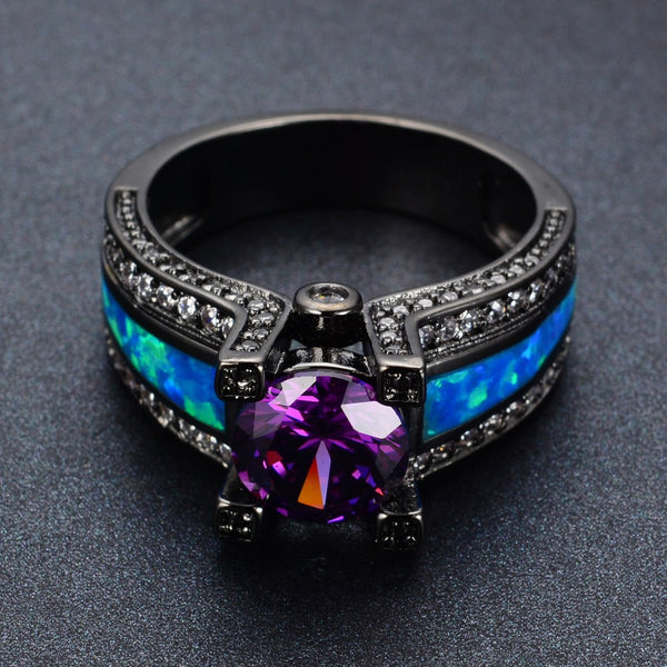 Romantic Blue Opal Amethyst Black Ring - 210 Kreations  - 4