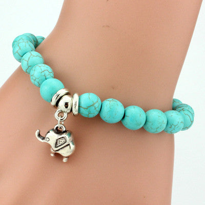 Turquoise Beads Bracelet - Assorted Charms - 210 Kreations  - 12