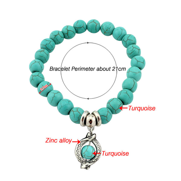 Turquoise Beads Bracelet - Assorted Charms - 210 Kreations  - 14