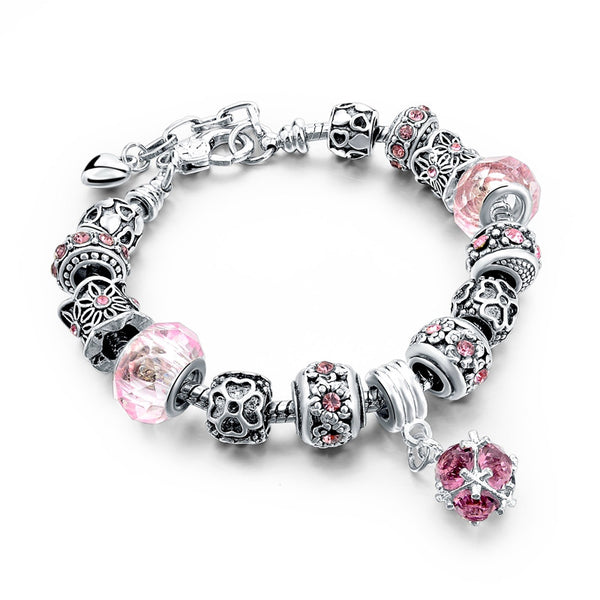 Charm Bracelet  w/Beads and Crystal - 210 Kreations  - 14