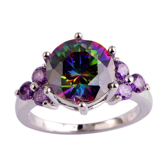 Rainbow Topaz & Amethyst Silver Ring Size - 210 Kreations  - 1