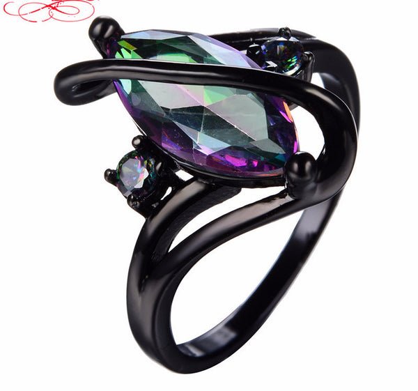 Crossed Marquise Black Ring - 210 Kreations  - 7