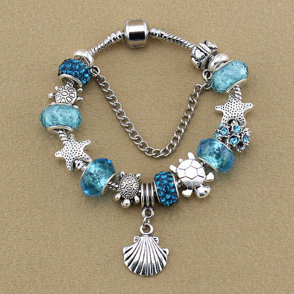 Blue Starfish Charm Bracelet - 210 Kreations  - 1