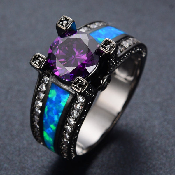 Romantic Blue Opal Amethyst Black Ring - 210 Kreations  - 2