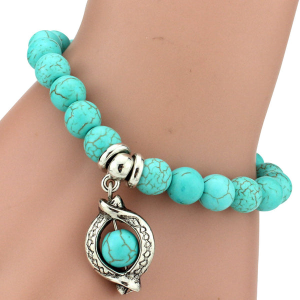 Turquoise Beads Bracelet - Assorted Charms - 210 Kreations  - 7