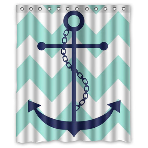 Chevron Anchor Shower Curtains - 210 Kreations