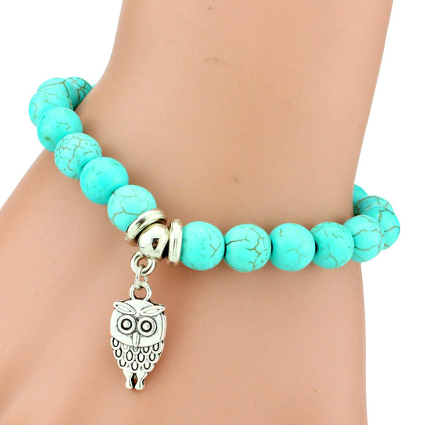 Turquoise Beads Bracelet - Assorted Charms - 210 Kreations  - 1