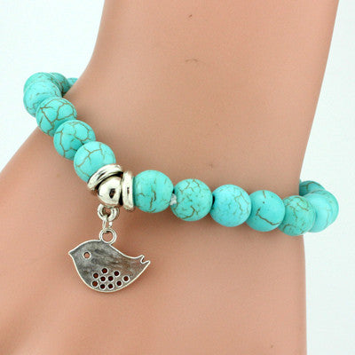 Turquoise Beads Bracelet - Assorted Charms - 210 Kreations  - 11