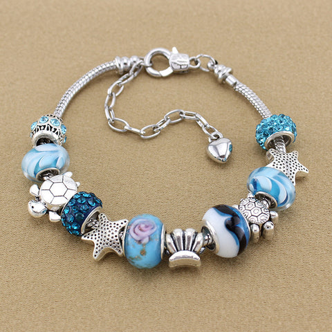 Ocean Crystal/Glass Charm Bracelet - 210 Kreations