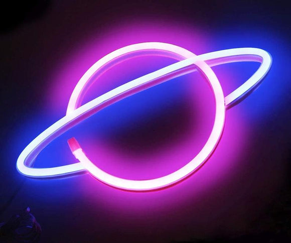 Pink/Blue Planet Neon Sign Planet Neon Led Sign, Planet Neon Light, Kids Bedroom Decor, Children's Lights, Nursery Night Light, Kids Bedrooms
