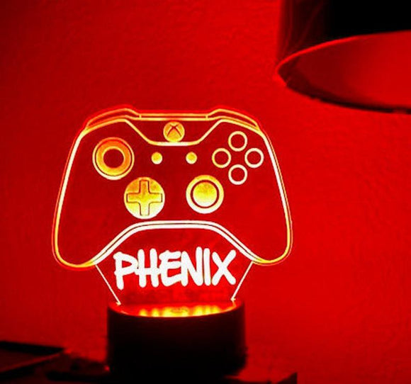 Personalized Night Light, Game Controller Night Light, LED Night Lamp, Remote Control, Engraved Gift, Kids Bedrooms, Man Cave, Gamer Light
