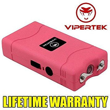 VIPERTEK PINK VTS-880 90 MV Mini Rechargeable LED Stun Gun + Taser Case