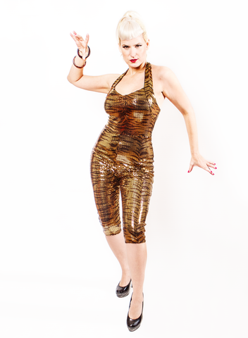 Tarantula Clothing Co- VaVa-VaVOOM Catsuit- Tiger Sequins
