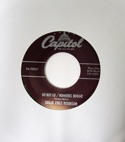 "Sugar Chile Robinson ""Go Boy Go/ Numbers Boogie"" / ""Whop, Whop""- 45 RPM Record Re-Issue"