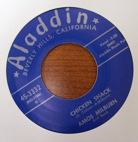 "Amos Milburn ""CHICKEN SHACK BOOGIE"" / ""ONE SCOTCH, ONE BOURBON""- 45 RPM RECORD RE-ISSUE"