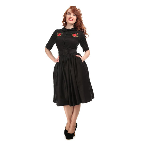 Collectif Aria Rose Embroidery Shirt Dress