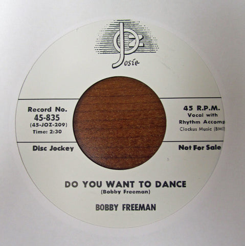 "Bobby Freeman ""DO YOU WANNA DANCE"" / ""LITTLE GIRL DON'T YOU UNDERSTAND""- 45 RPM RECORD RE-ISSUE"
