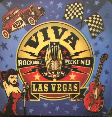 Viva Las Vegas Hologram Coasters- Set of 4