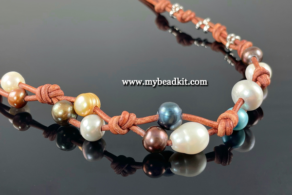 New! Boho-Style Freshwater Pearl & Leather Necklace Kit