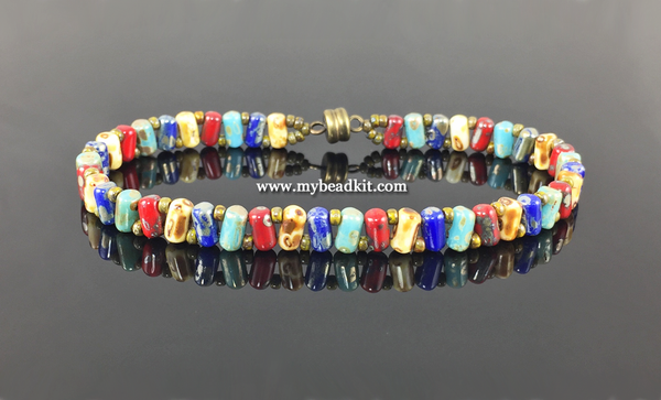 Zig-Zag Beaded Bracelet Kit with 2-Hole Glass Beads (Picasso Color Mix)