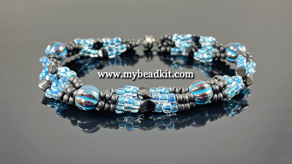 Boho Chic 4-Strand Seed Bead Bracelet Kit (Blue & Black)