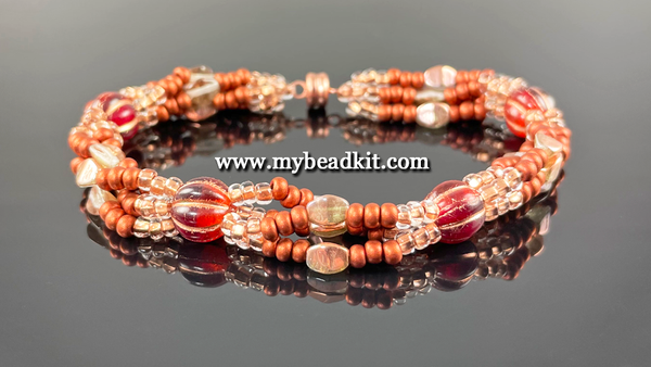 Boho Chic 4-Strand Seed Bead Bracelet Kit (Copper)