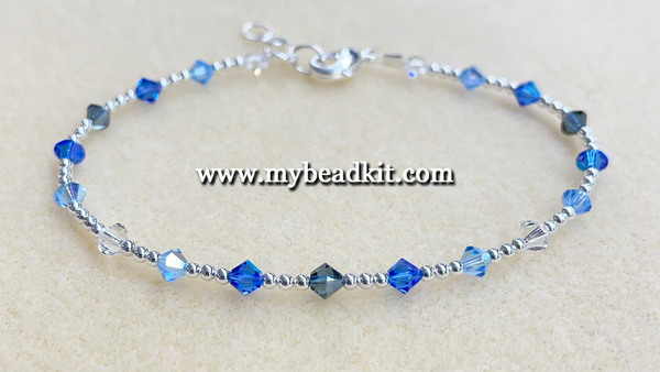 New! Swarovski Crystal & Silver Plated Bead Bracelet Kit (Blue Ombre)