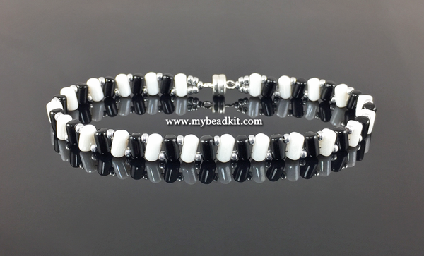 New! Zig-Zag Beaded Bracelet Kit with 2-Hole Glass Beads (Black & White)