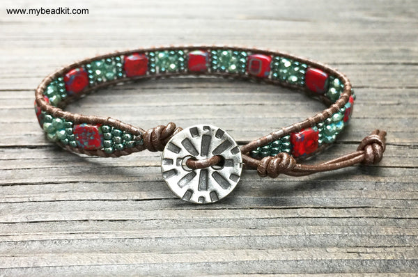 NEW! Sparkle & Shine! Tile Bead Wrap Bracelet Kit with Seed Beads & Crystals (Red & Teal)