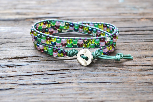 SALE! Stacked Seed Bead Wrap Bracelet Kit (Green/Purple tones) (Single or Double Wrap)