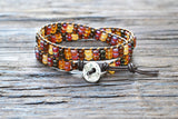 SOLD OUT! Stacked Seed Bead Wrap Bracelet Kit (Brown/Amber tones) (Double Wrap)
