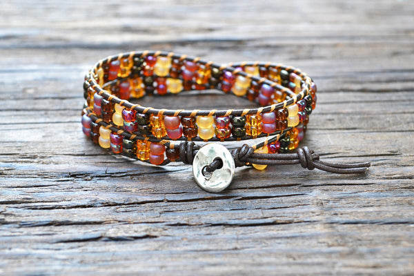 SALE! Stacked Seed Bead Wrap Bracelet Kit (Brown/Amber tones) (Double Wrap)