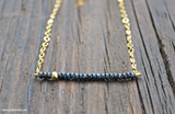 SOLD OUT! Simple Beauty Bead & Chain Minimalist Necklace Kit - Glass Seed Bead (Jet Earth)