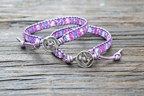 DISCONTINUED! Kid Style: Stacked Seed Bead Wrap Bracelet Kit (Pink/Purple)