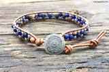 Stone & Seed Bead Leather Wrap Bracelet Kit (Sodalite) - Ladder Stitch