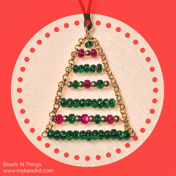 Boho Christmas Tree Pendant Necklace Kit with Seed Beads and Chain