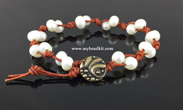 Freshwater Pearl & Knotted Leather Bracelet Kit (Cream pearls)
