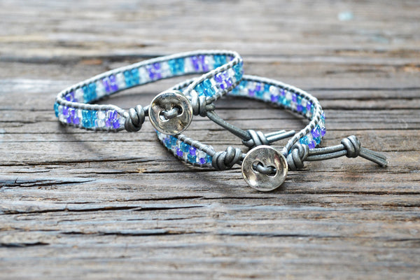 DISCONTINUED! Kid Style: Stacked Seed Bead Wrap Bracelet Kit (Blue/Purple)