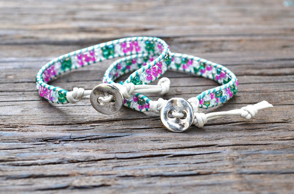 DISCONTINUED!  Kid Style: Stacked Seed Bead Wrap Bracelet Kit (Pink/Green)
